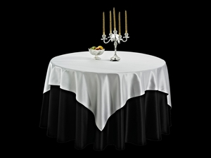 双面缎纯黑台布搭双面缎银灰方台盖