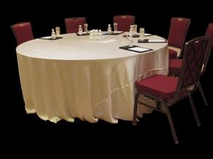 绉布牙白圆台布自然皱台布免烫台布宴会台布