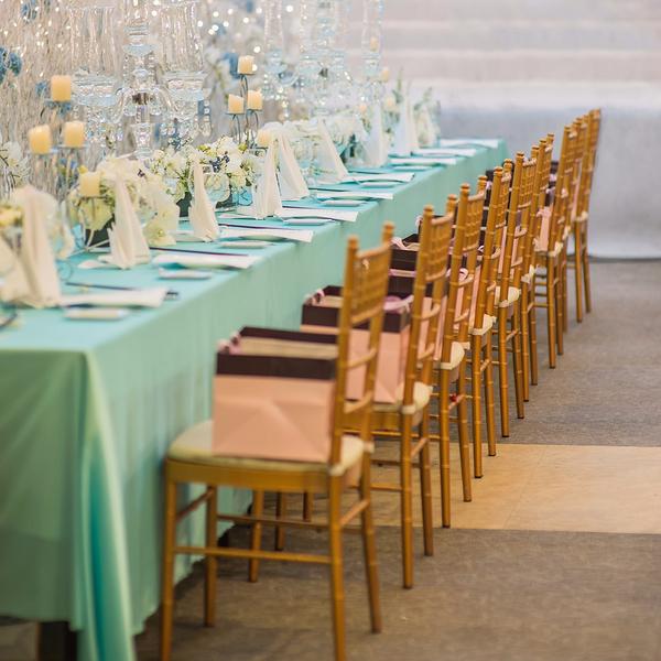 仿真丝蒂芙尼蓝长方台布长条桌布宴会长桌布西式宴会桌布-