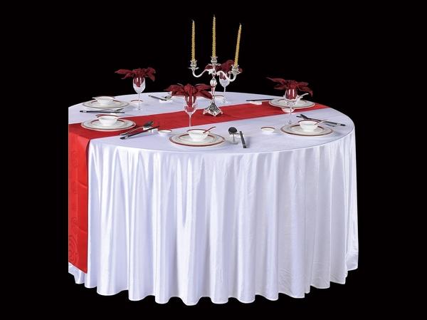 贡丝锦漂白圆台布五星酒店白桌布宴会白台布漂白台布-