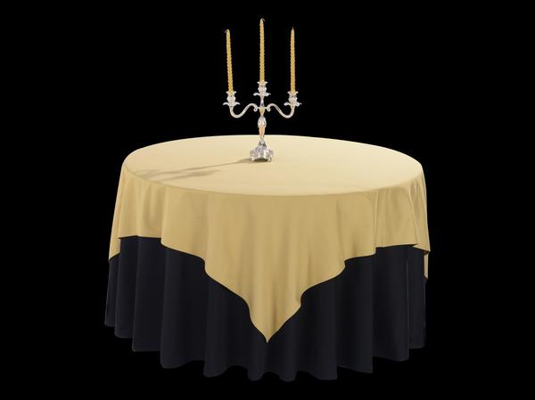 棉感橡木黄方台布配双面缎纯黑圆台布-