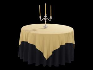 棉感橡木黄方台布配双面缎纯黑圆台布