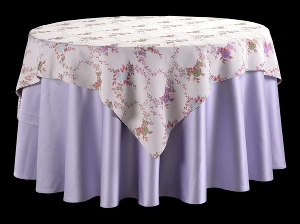 双面缎浅紫圆台布配吉祥叶方台盖暗纹台布提花台布-