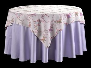 双面缎浅紫圆台布配吉祥叶方台盖暗纹台布提花台布