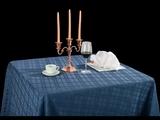 亚麻青格方圆角桌布西式桌布西餐桌布