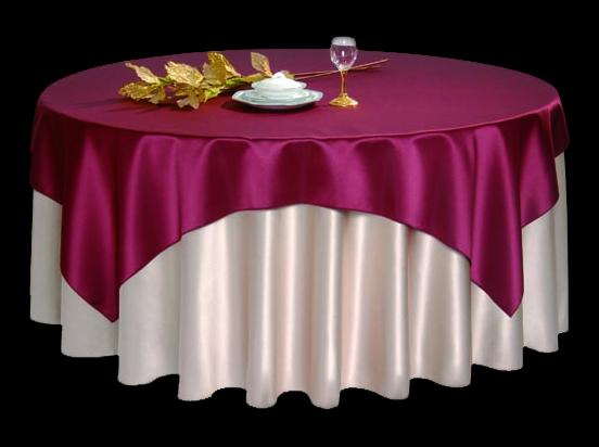 仿真丝蒜白搭仿真丝玫瑰色方台盖玫瑰色宴会台布-
