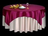 仿真丝蒜白搭仿真丝玫瑰色方台盖玫瑰色宴会台布