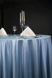 贡丝锦珐琅蓝桌布西式桌布不缩水桌布蓝台布