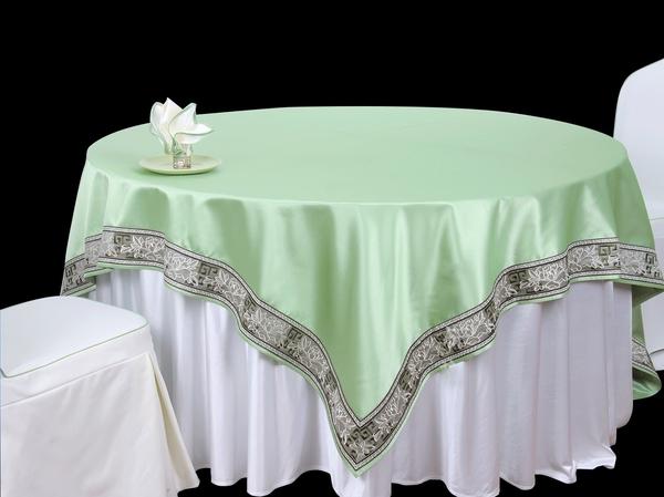 双面缎漂白搭双面缎秋绿镶边方台盖镶边台布-