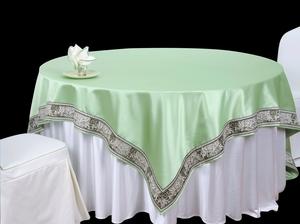 双面缎漂白搭双面缎秋绿镶边方台盖镶边台布