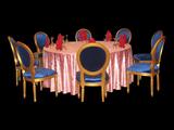 粉红蔷薇绉布桌布自然皱桌布粉红桌布婚宴布草