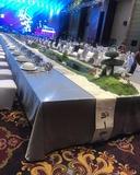 双面缎铅灰长方桌布长条桌布晚宴主桌桌布晚宴主桌布置