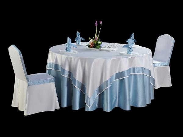 双面缎本白镶边方台布淡雅桌布-