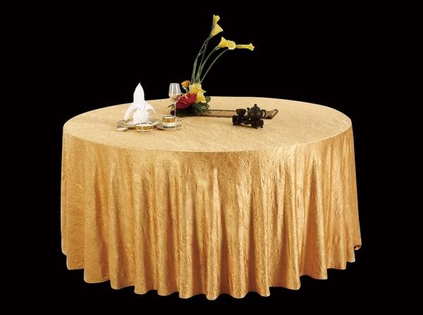 绉布金黄圆台布自然皱台布免烫台布-