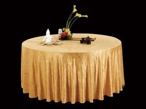绉布金黄圆台布自然皱台布免烫台布