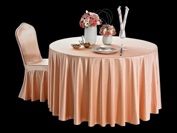 贡丝锦木瓜橙圆台布淡雅桌布婚宴桌布橙红桌布-