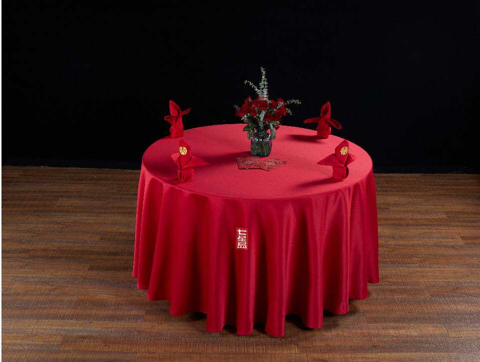 七星岛婚宴主题台布口布