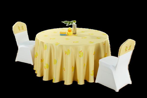 七星岛黄色卡通人物小黄鸭儿童主题桌布椅套-