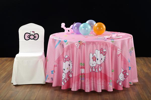 HELLO KITTY 动画卡通主题宴会桌布椅套-ETBC