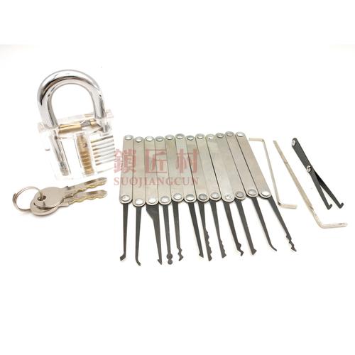 不锈钢12支勾加透明挂锁套装 可定制标签-