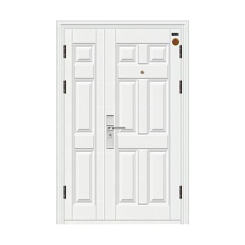 白色六方子母门 防锯大圆头锁-7公分