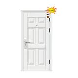白色六方门 防锯大圆头锁 -7公分