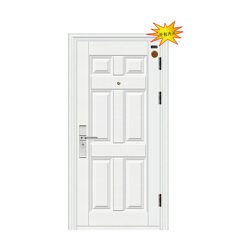 白色六方门 防锯大圆头锁-7公分