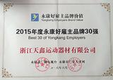 2015年度永康好雇主品牌30强