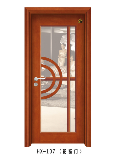 实木玻璃花窗门-HX-107