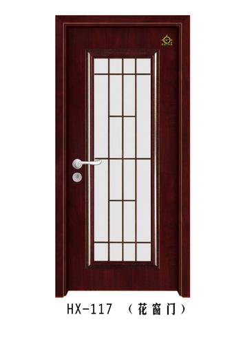 实木玻璃花窗门-HX-117