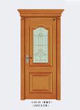 实木玻璃花窗门-3-HX-90