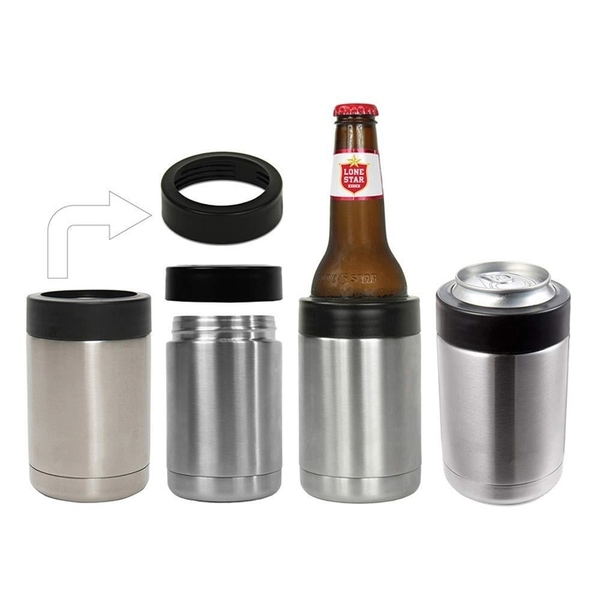 Insulated stainless steel beer cooler/can holder WJ-12OZS-BR
