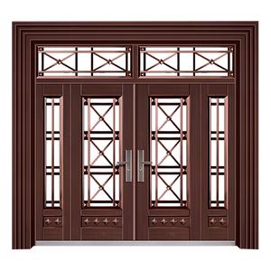 梯型门框玻璃拼接(真紫铜拉丝)