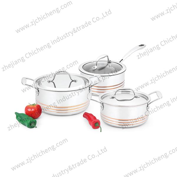 3 layers copper core cookware