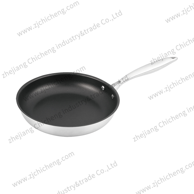 3 layers stainless steel fry pan with coating XB-2162-1