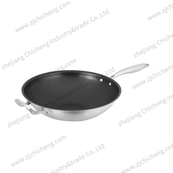 3 layers stainless steel wok with coating