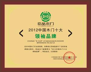 2012年中国门业十大领袖品牌