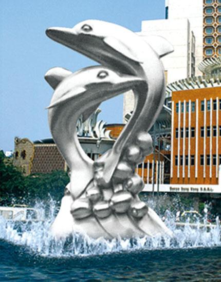 不锈钢雕塑 海豚