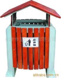 户外钢木垃圾桶-0906-17528