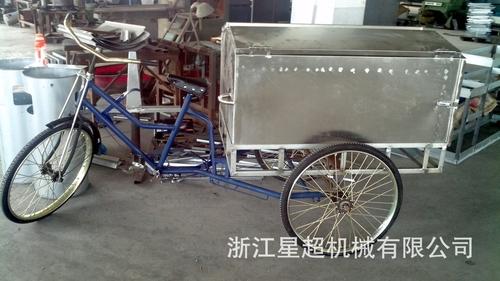 不锈钢三轮人力垃圾车-