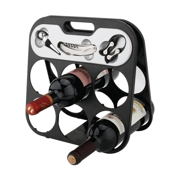 Foldable 6 Bottle Wine Rack 608355-B