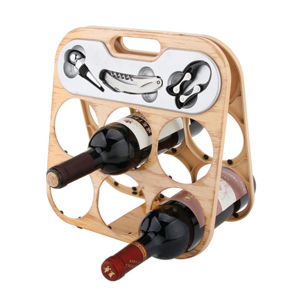 Foldable 6 Bottle Wine Rack 608355-D