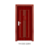 鋼木室內門 -YH-036(紅拼木)