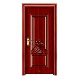 鋼木室內門 -YH-083紅拼木