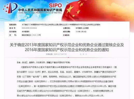 """晨龙锯床荣获""""2016年度国家知识产权示范企业""""称号"""
