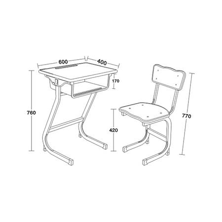 塑料包边面课桌椅-FX-0136