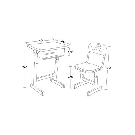 鋁合金包邊課桌椅-FX-0180