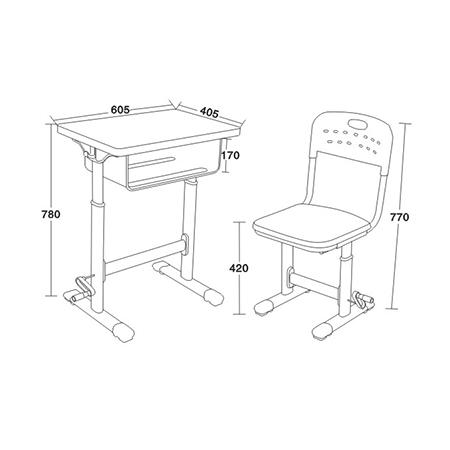 铝合金包边课桌椅-FX-0280