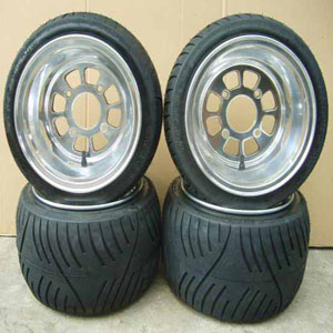 8 hole polish alloy wheelGZY-8H1080P & flat tyre 205/30-10